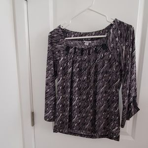 Blouse with 3/4 sleeves in black and gray